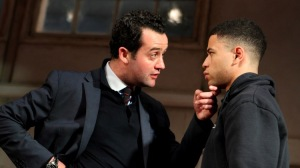 Daniel Mays as Kidd and Calvin Demba as Jordan in Patrick Marber's The Red Lion. National Theatre through 30 September. ©Catherine Ashmore