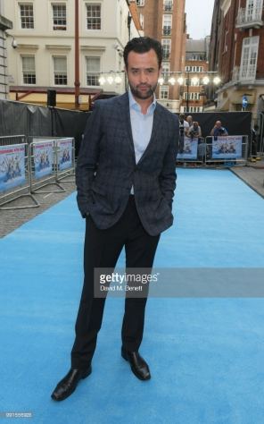 "attends the UK Premiere of ""Swimming With Men' at The Curzon Mayfair on July 4, 2018 in London, England."
